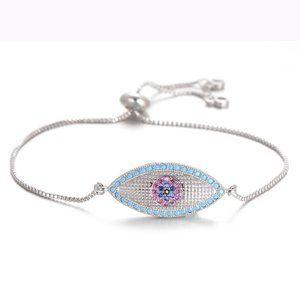 Large Silver Blue Evil Eye Boho CZ Bracelet